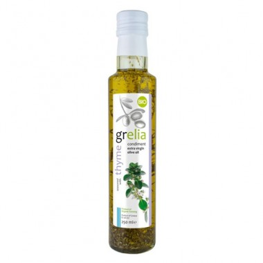 Condiment of extra virgin olive oil and thyme, product of organing farming